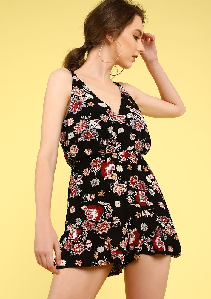 DON'T BE SHY BLACK FLORAL ROMPER