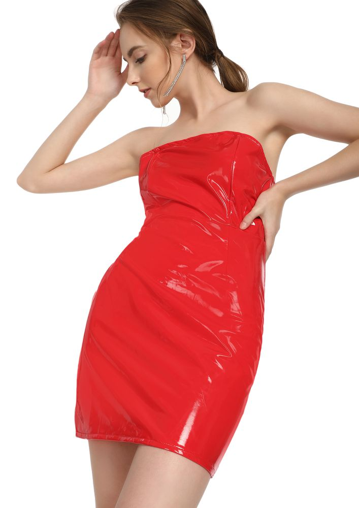 THE REAL YAASSS QUEEN RED BANDEAU DRESS