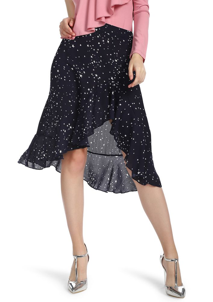 Star Dazed NAVY Midi Skirt