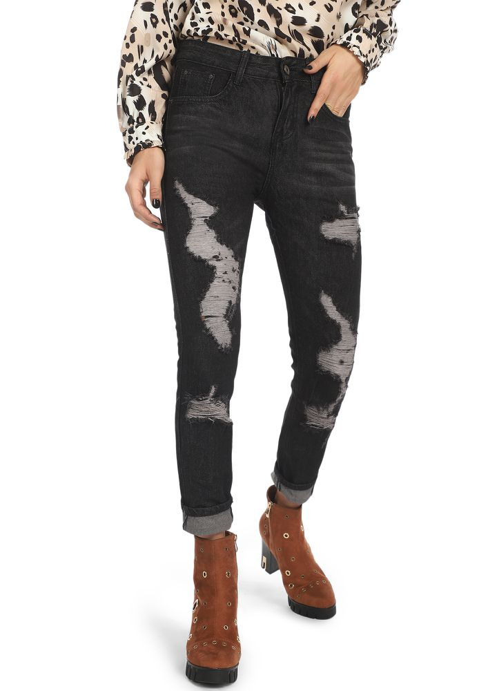 DAY DREAMING BLACK RIPPED JEANS