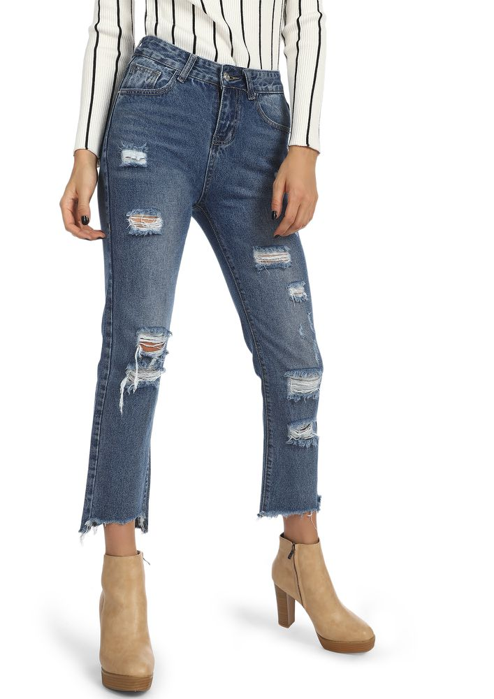 FAKE PROMISES LIGHT BLUE CROPPED JEANS