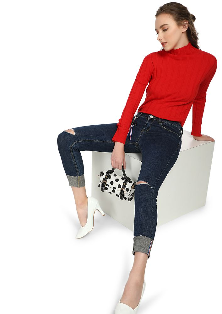 SUCH A SMARTY DEEP BLUE CROPPED JEANS
