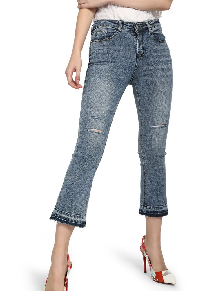 CUT SHORT THE INCHES BLUE CROPPED JEANS