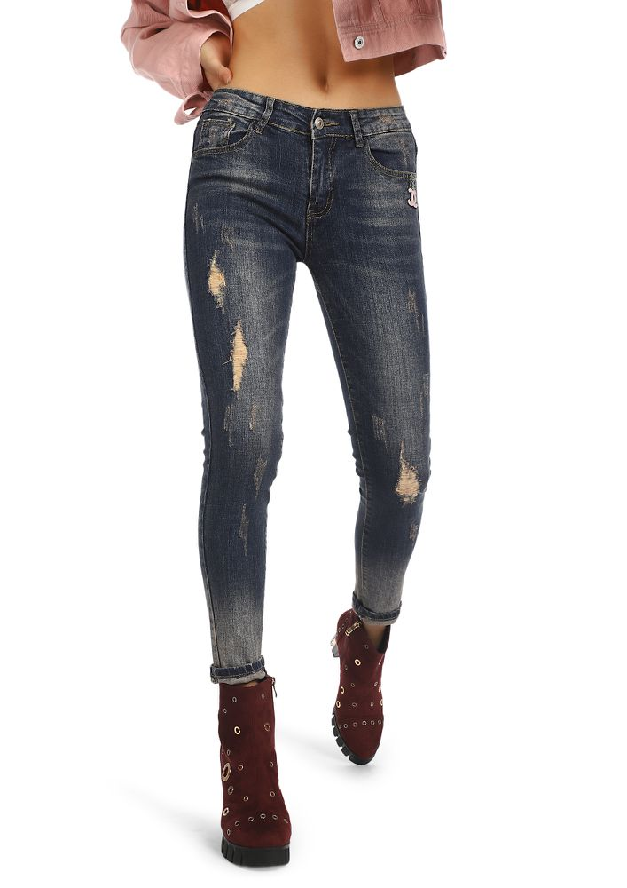 DESTROYED WHAT DESTROYED ME BLUE RIPPED JEANS