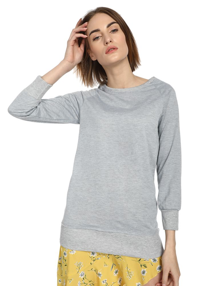 LOVE BETWEEN US GREY RIBBED TOP