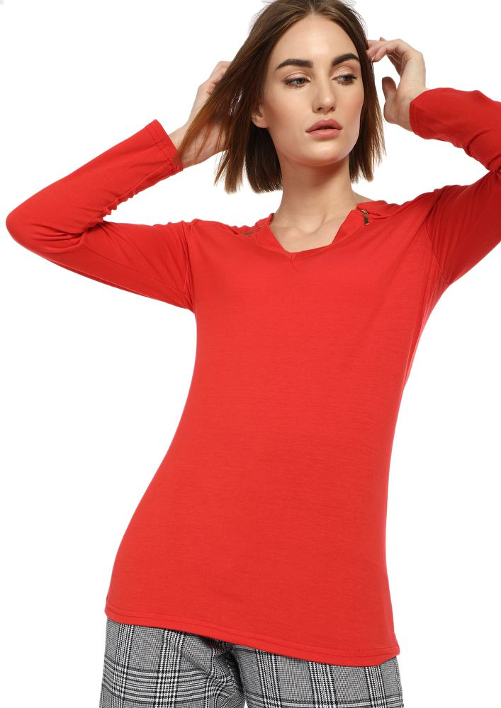LIFE AHEAD OF US RED RIBBED TOP