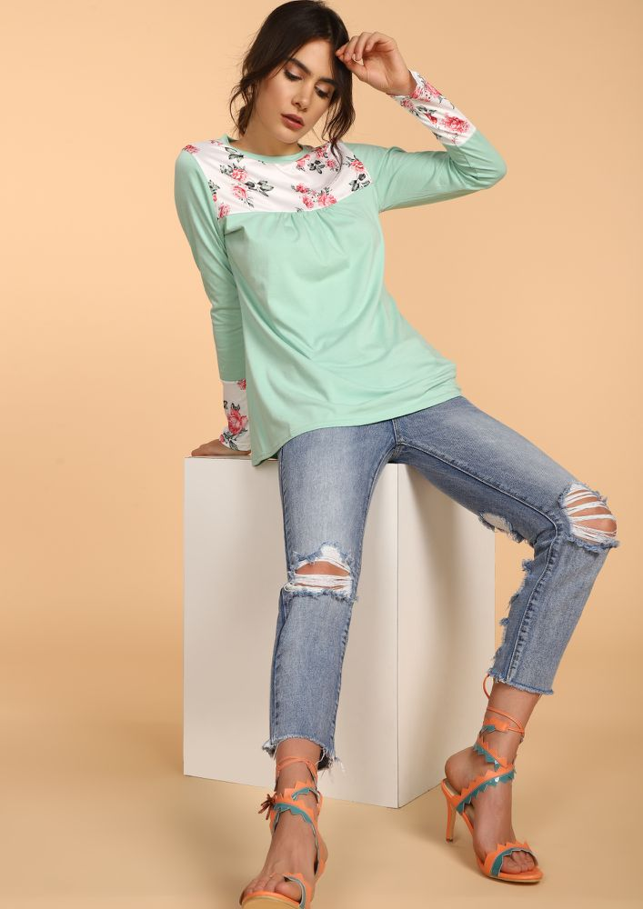 JUST THE RIGHT AMOUNT MINT GREEN TOP