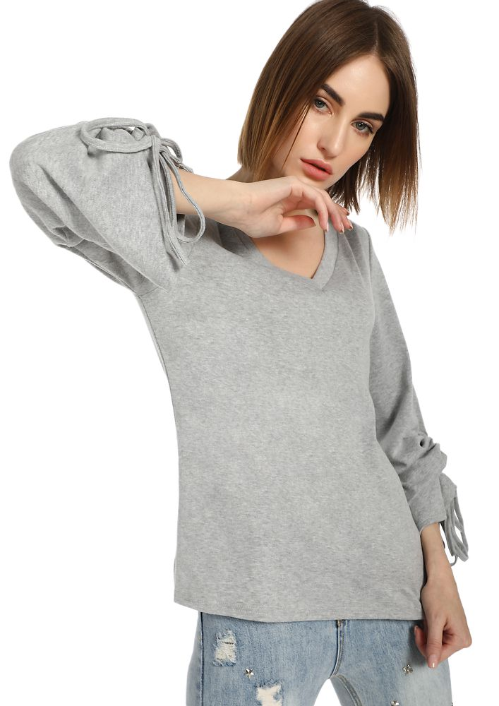 KNOT A RIGHT WAY GREY RIBBED TOP