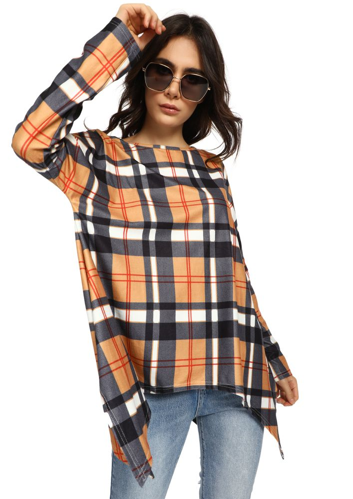 YOU PLAID ME WELL PASTEL ORANGE TUNIC TOP