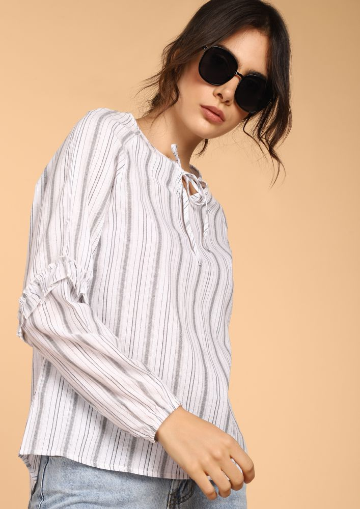 ALMOST LIKE BASIC GREY STRIPED BLOUSE