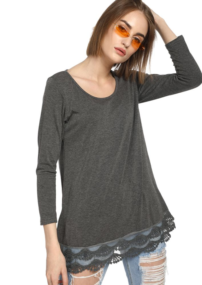 FROM AM TO PM GREY TUNIC TOP