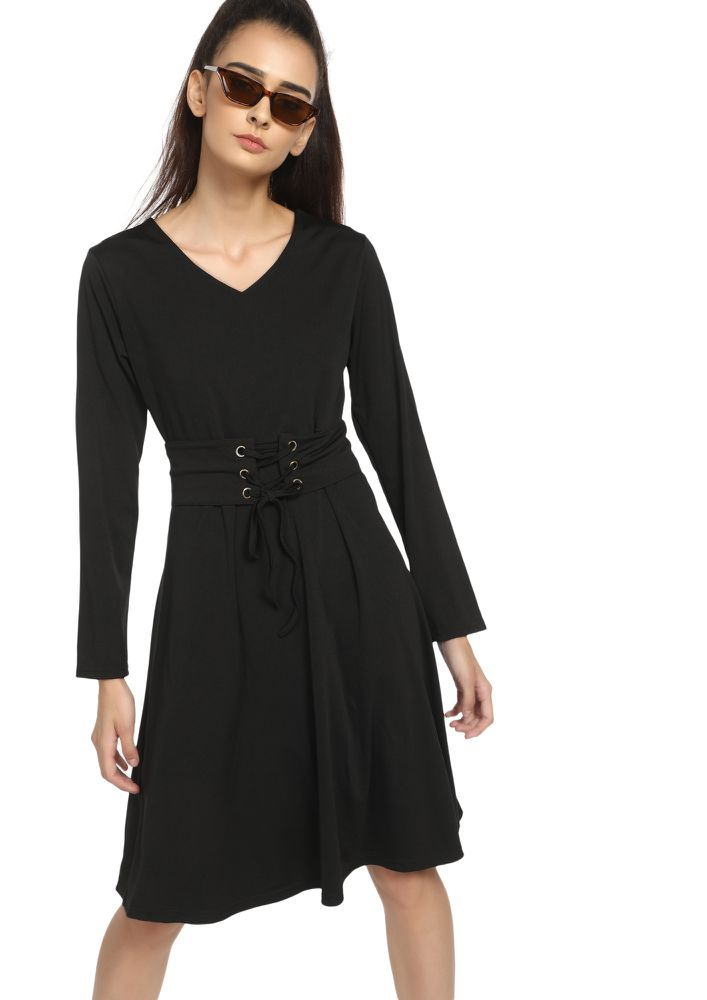 DAYS OF CORSETS BLACK MIDI SKATER DRESS