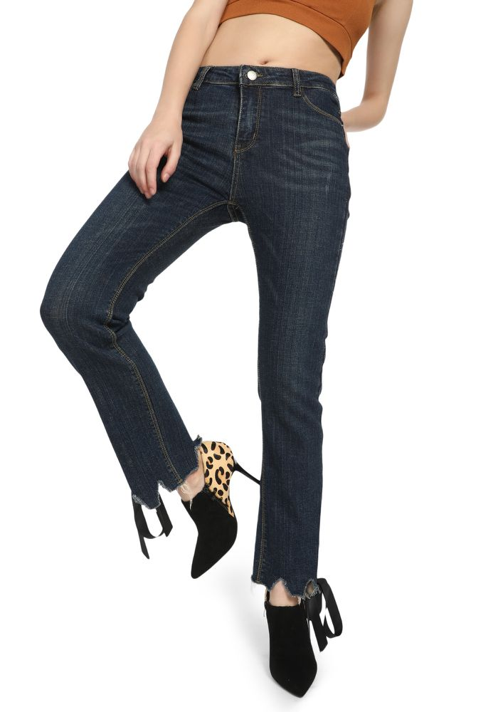Cuffing Hot Deep Blue Straight Jeans