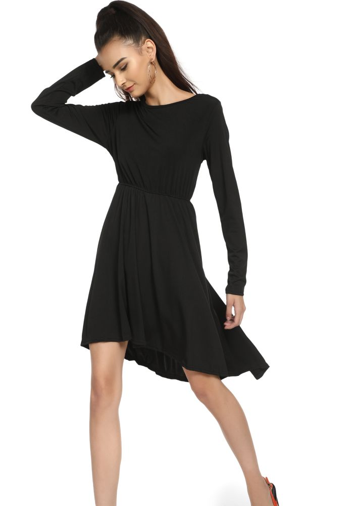IN EVERY POSSIBLE SITUATION BLACK ASYMMETRIC DRESS