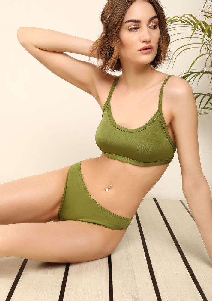 DANCING AROUND MY SANDCASTLE MOSS GREEN BIKINI