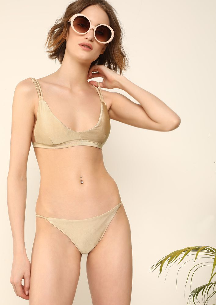 CURATING SEASHELLS KHAKI BROWN BIKINI