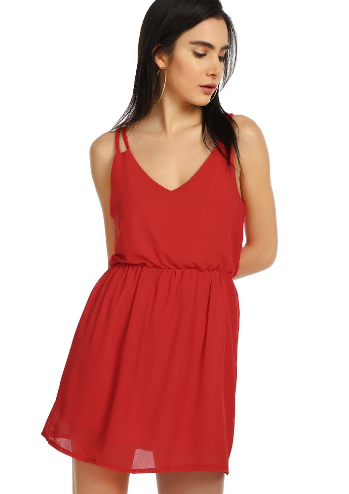 UP FOR QUICK BITES RED TUNIC DRESS
