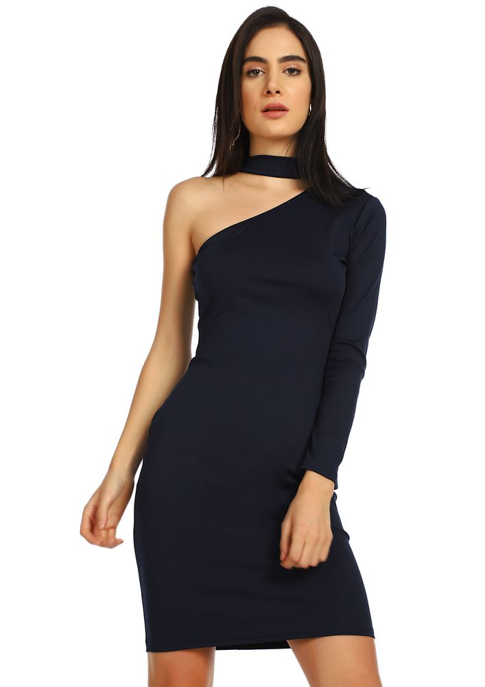 ONE SHOULDER TO GIVE NAVY BODYCON DRESS