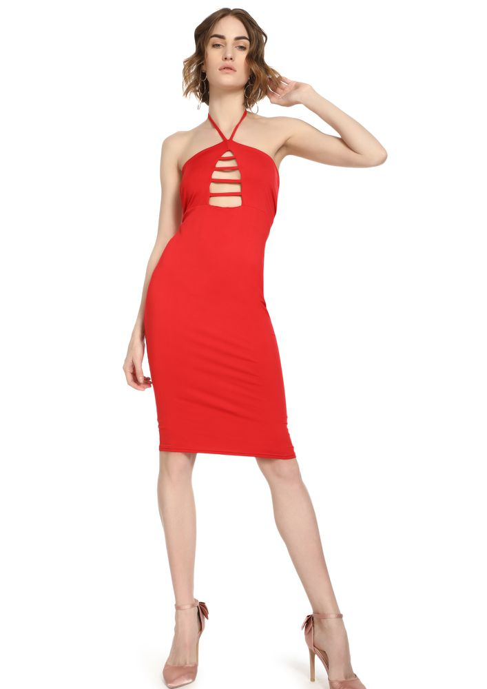MY HALTER EGO RED MIDI DRESS
