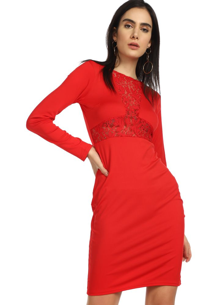 DATE READY RED PENCIL DRESS