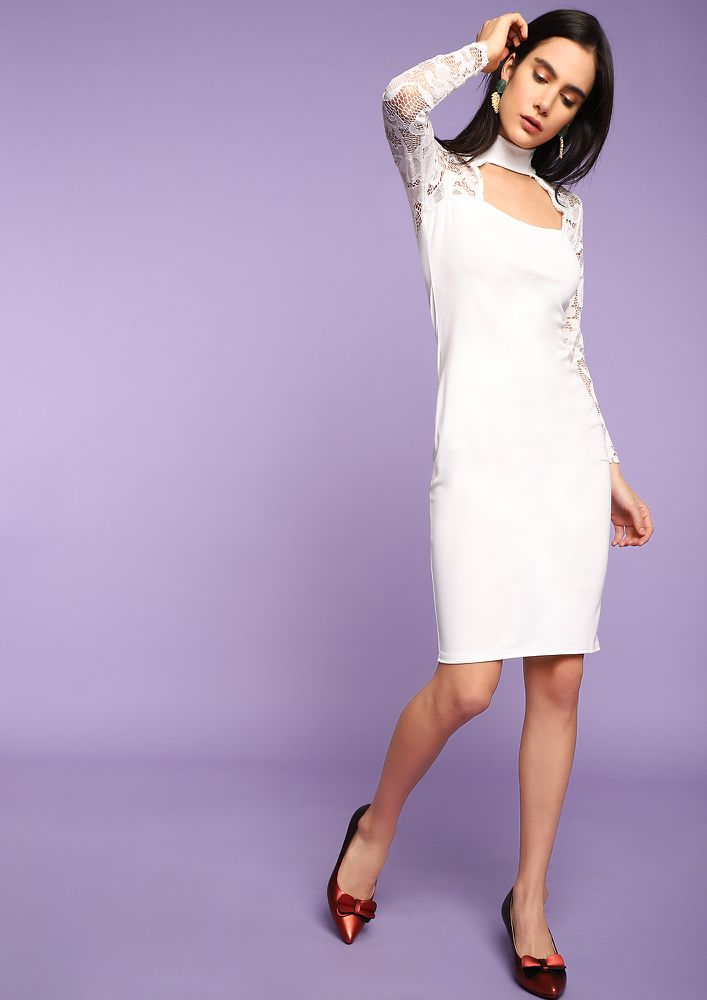 YOUR GRACE WHITE PENCIL DRESS
