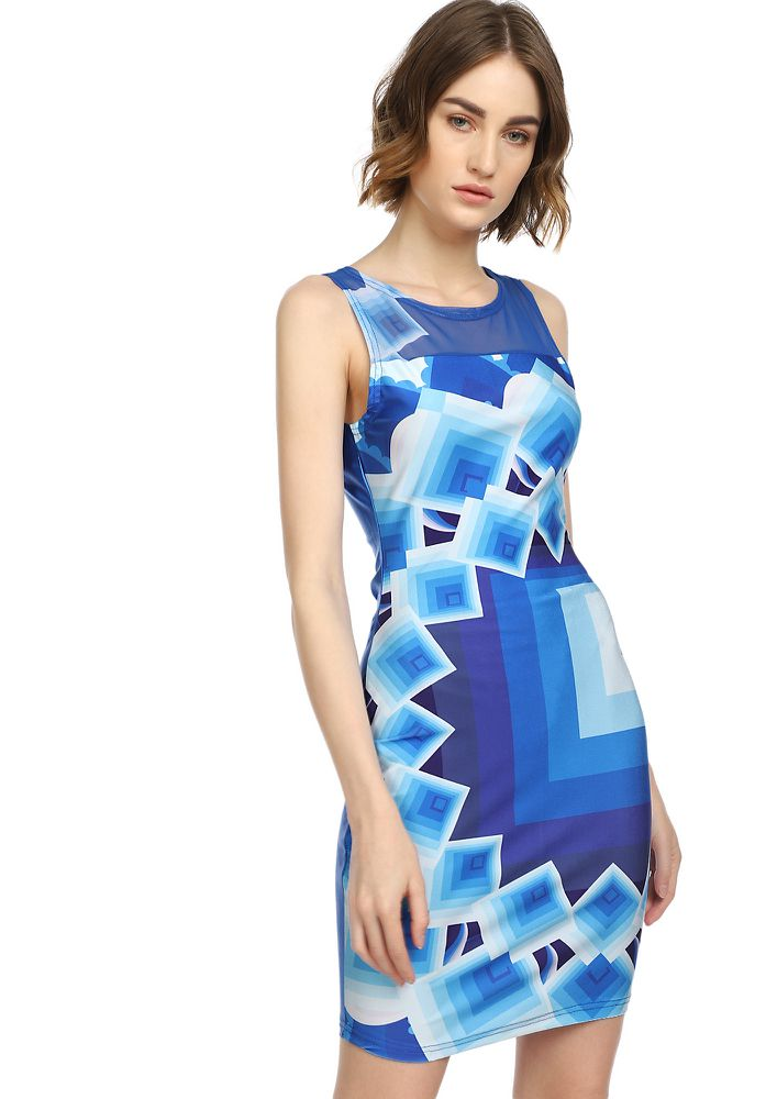 ALL GOOD ABSTRACT ELECTRIC BLUE BODYCON DRESS
