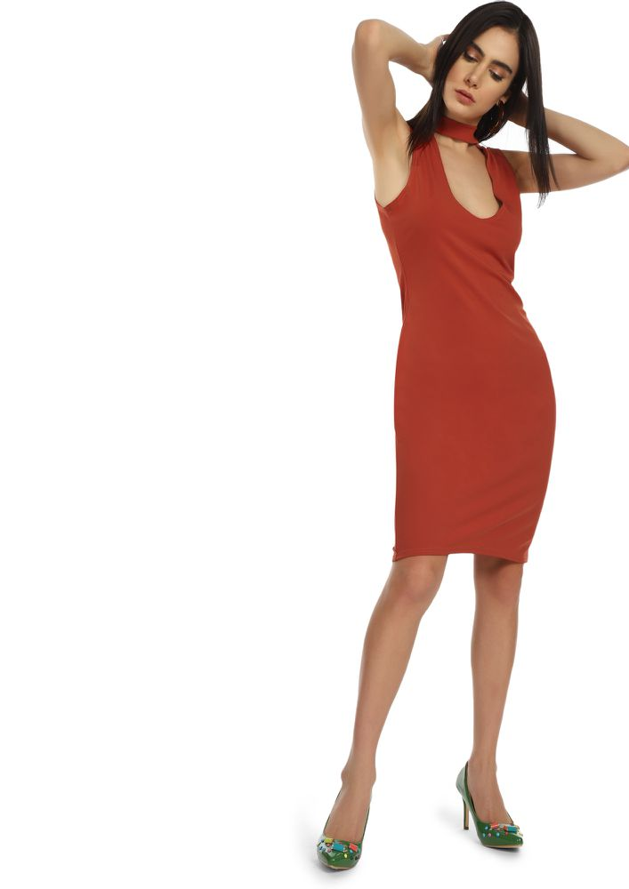 THE RIGHT CUT CORAL RED MIDI DRESS