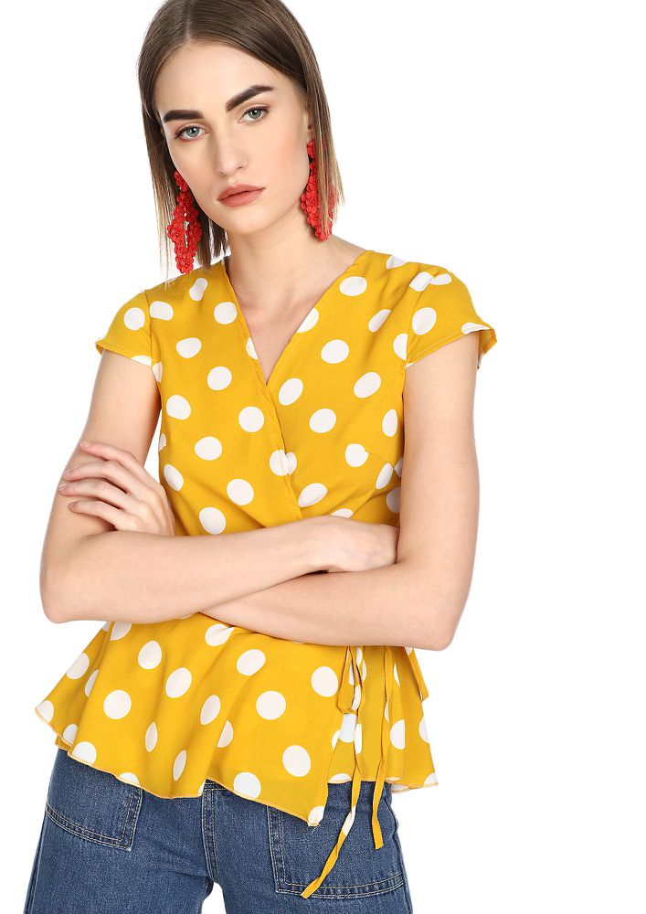 UNDER A POLKA WRAP YELLOW BLOUSE