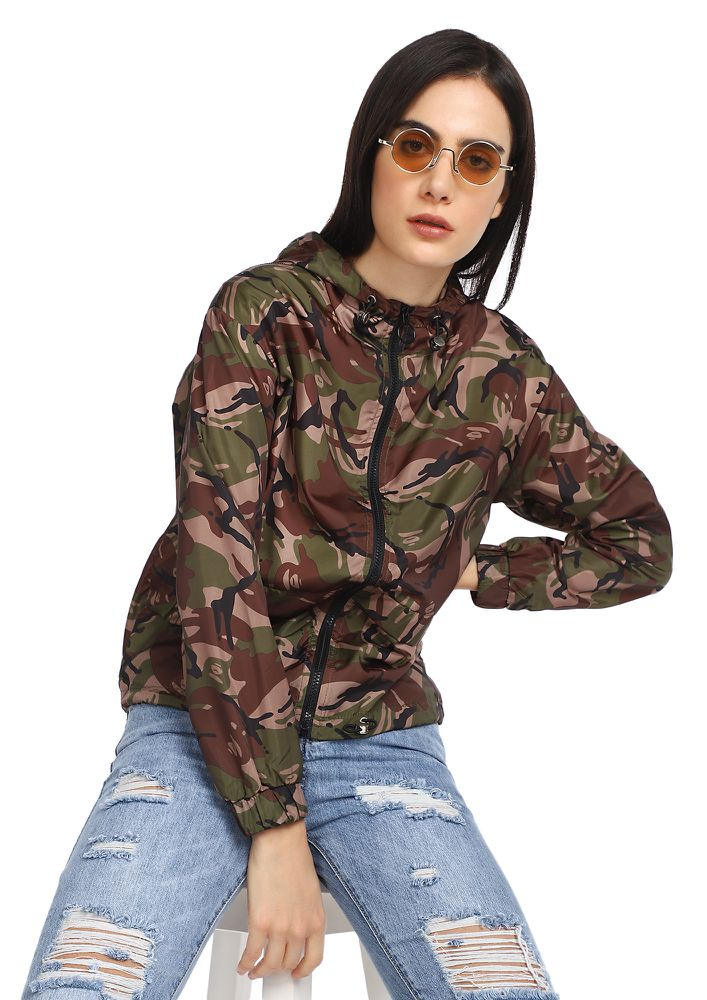 ACTION WOMAN GREEN CAMO HOODIE