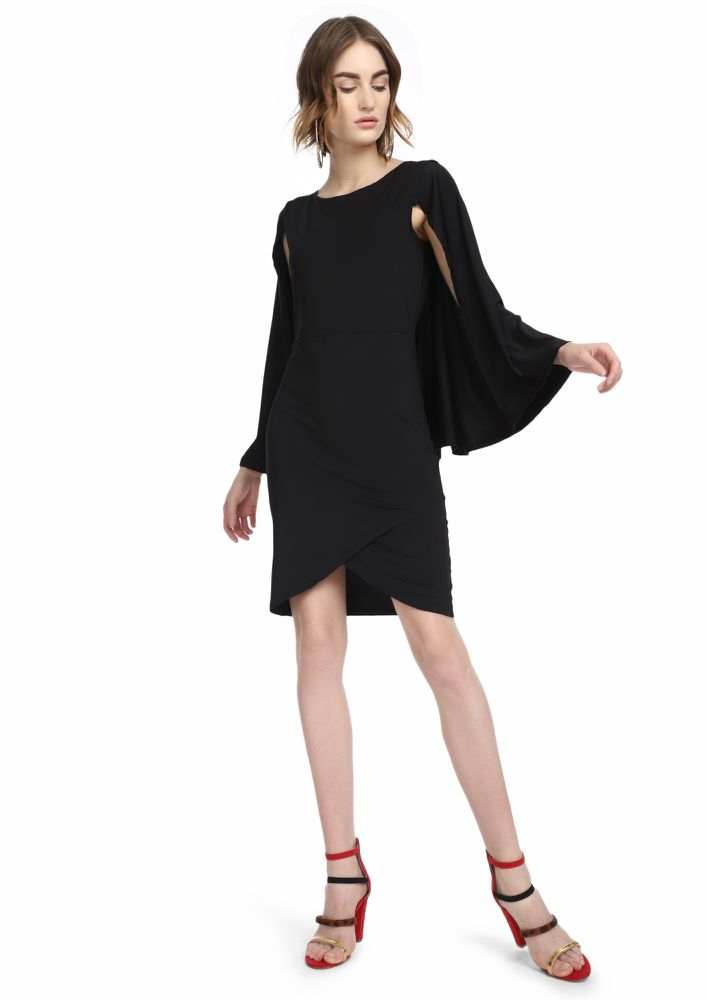 HOW ARE YOU CAPE BLACK ASYMMETRICAL DRESS