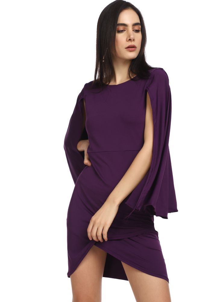 HOW ARE YOU CAPE PURPLE ASYMMETRICAL DRESS