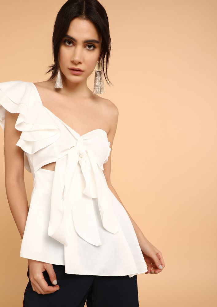 I LIKE IT RUFFLED WHITE TUNIC TOP