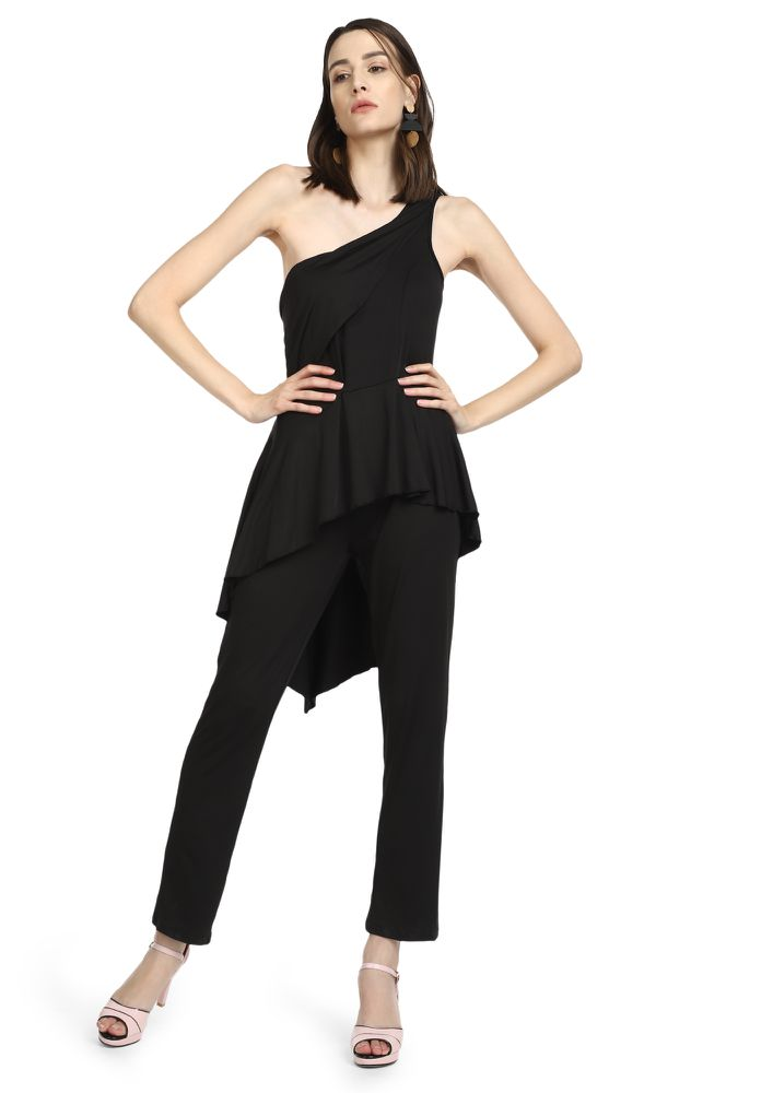 ONLY ONE SIDE BLACK ONE-SHOULDER TOP