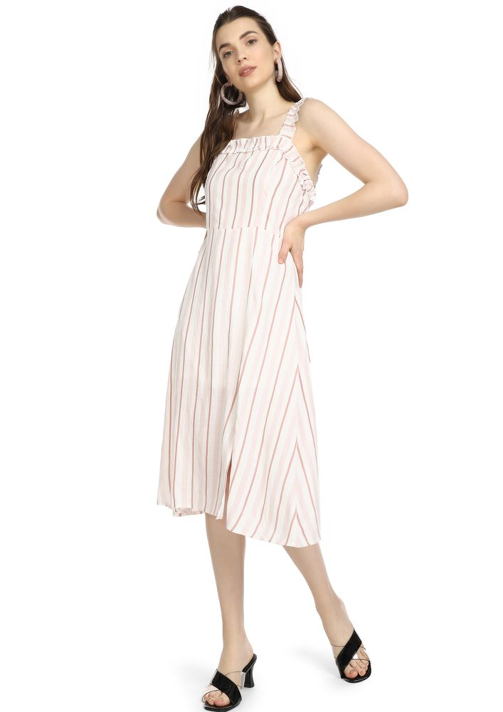 SERIOUSLY STRIPED WHITE MIDI DRESS