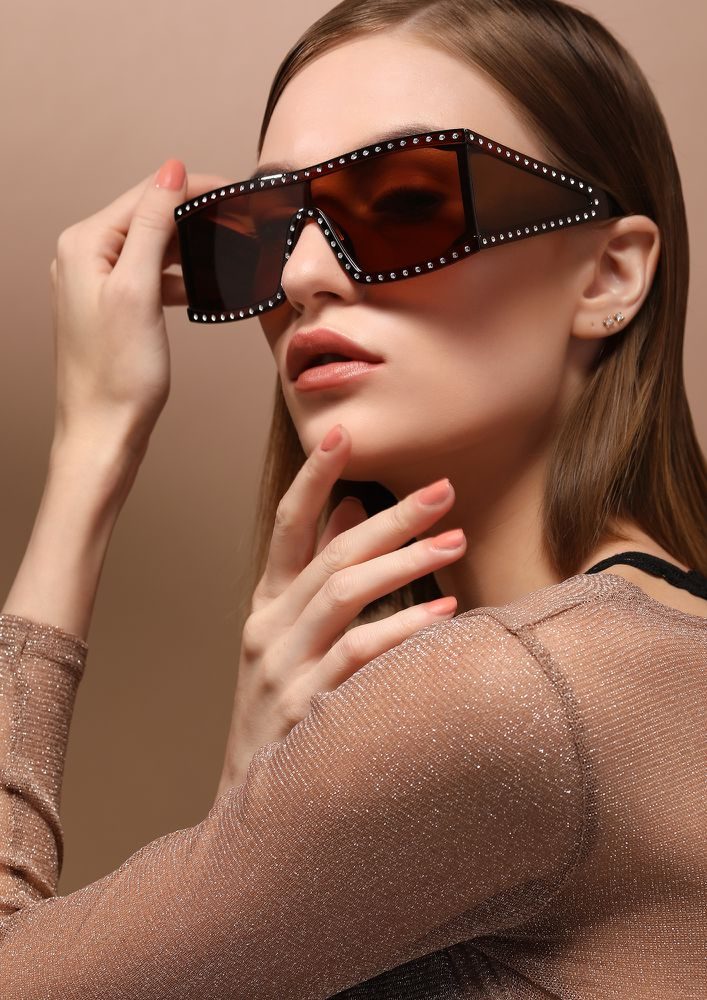 BEHIND A SHIELD BROWN SQUARE SUNGLASSES