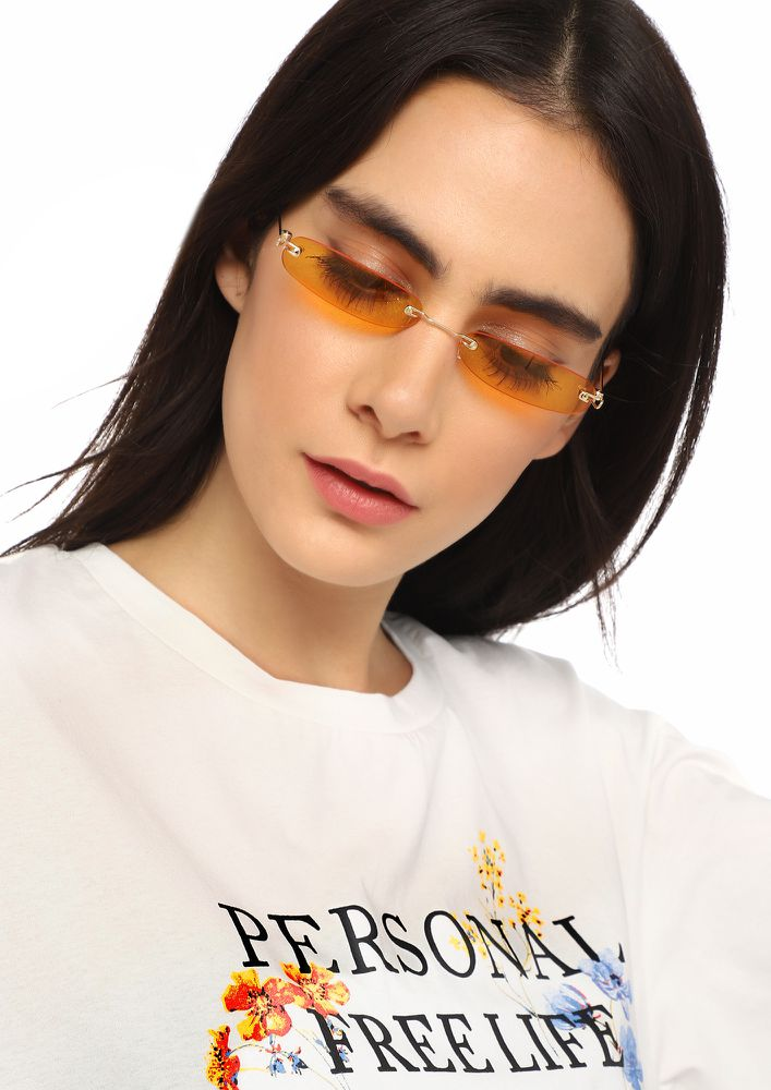 PEA SIZED BRAIN ORANGE RECTANGULAR SUNGLASSES