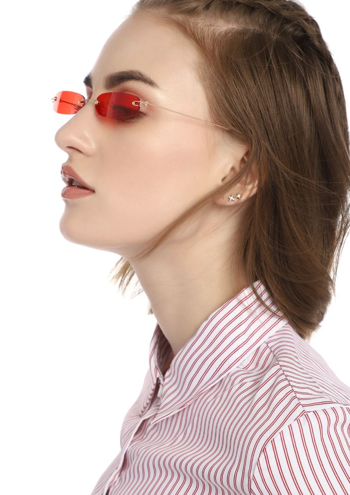 PEA SIZED BRAIN RED RECTANGULAR SUNGLASSES