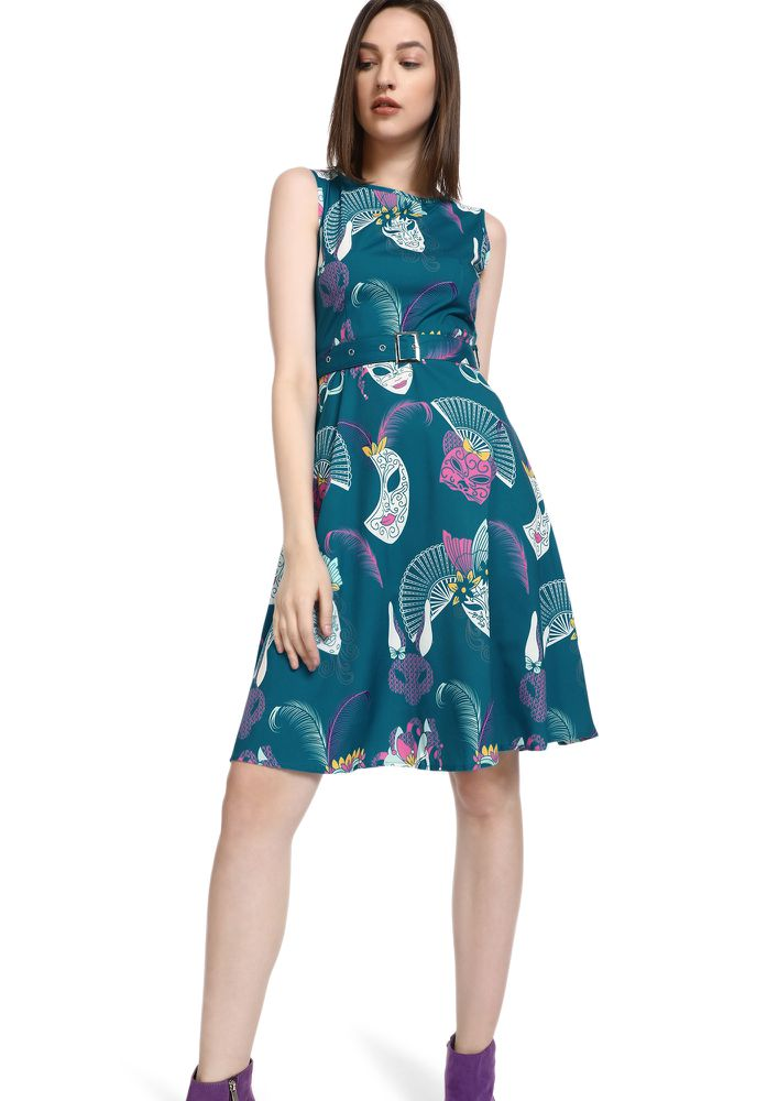 HAPPY TIMES HERE AQUA BLUE SKATER DRESS