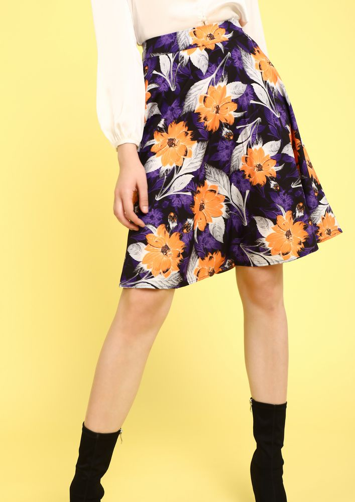 WHO GOT THE FLOWER YELLOW MIDI SKIRTS