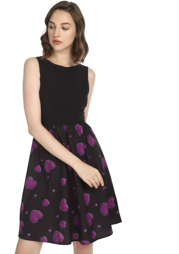 HEART WARMING CONVERSATION PURPLE SKATER DRESS