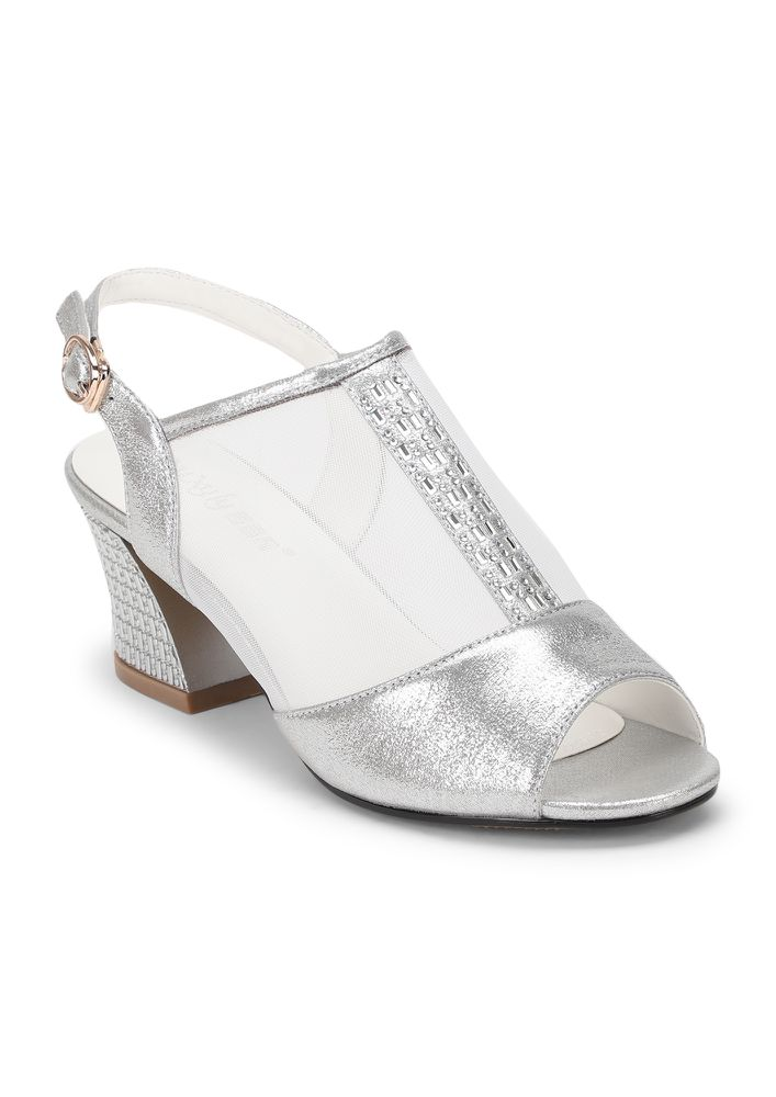 ONLY MESH FOR ME SILVER HEELED SANDALS