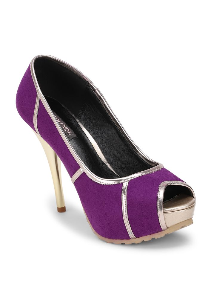 ALL JAZZED UP PURPLE PEEP-TOE PUMPS