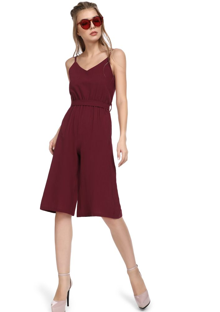 HAPPY TO SEE YOU MAROON JUMPSUIT