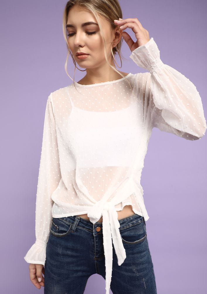 FOUND THE DOBBY DOTS PASTEL WHITE TOP