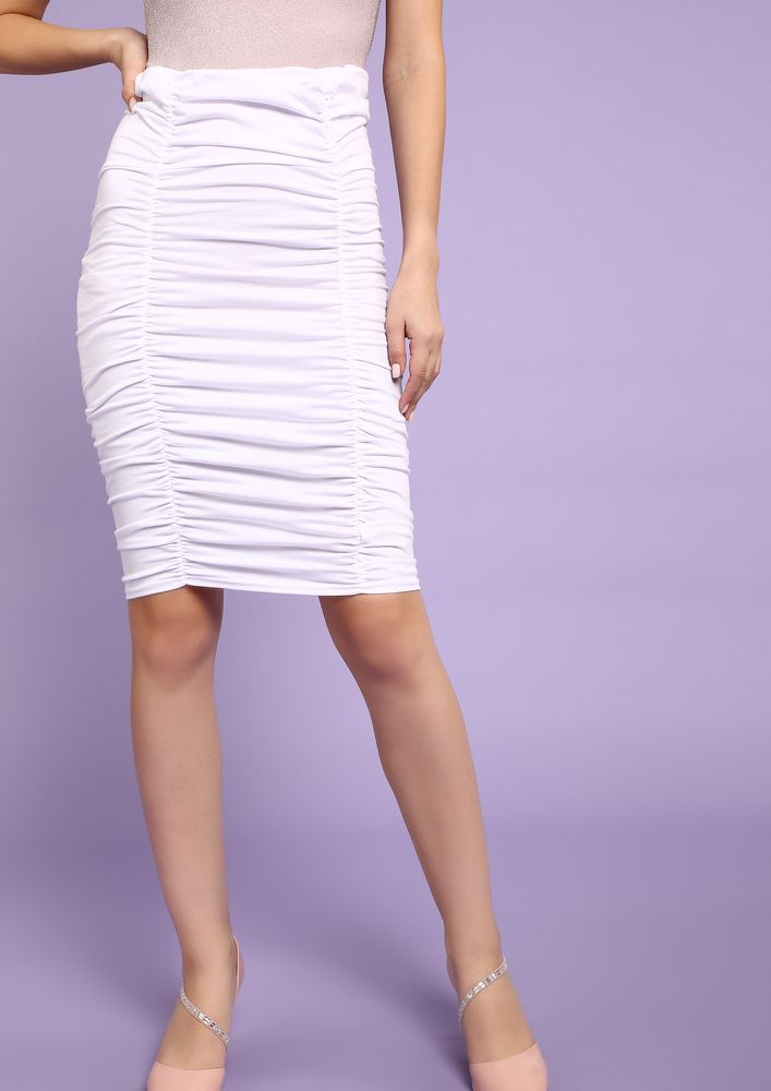 NEW AGE ROMANCE WHITE PENCIL SKIRT