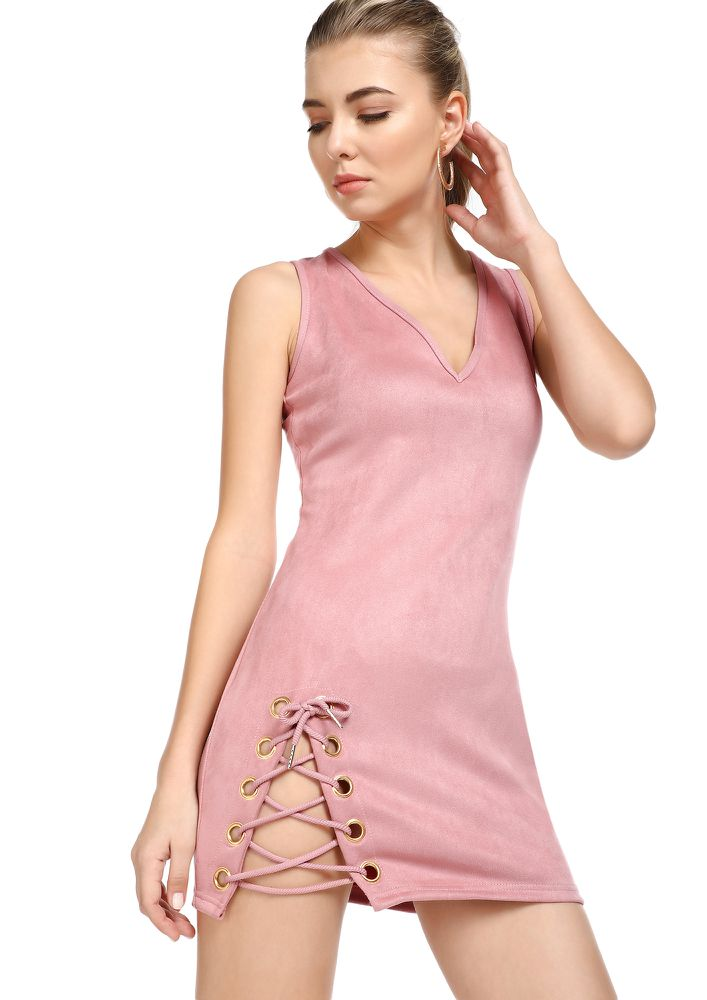 GONNA SUEDE YOU DUSTY PINK MINI DRESS