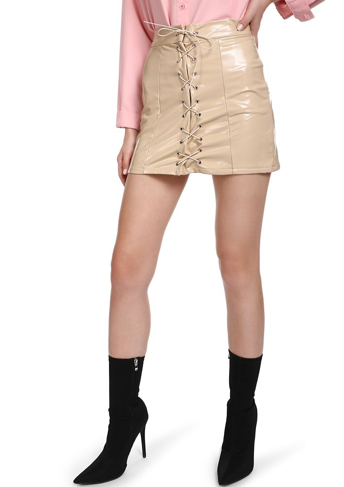 PATENT YOUR TRUTH BEIGE MINI SKIRT