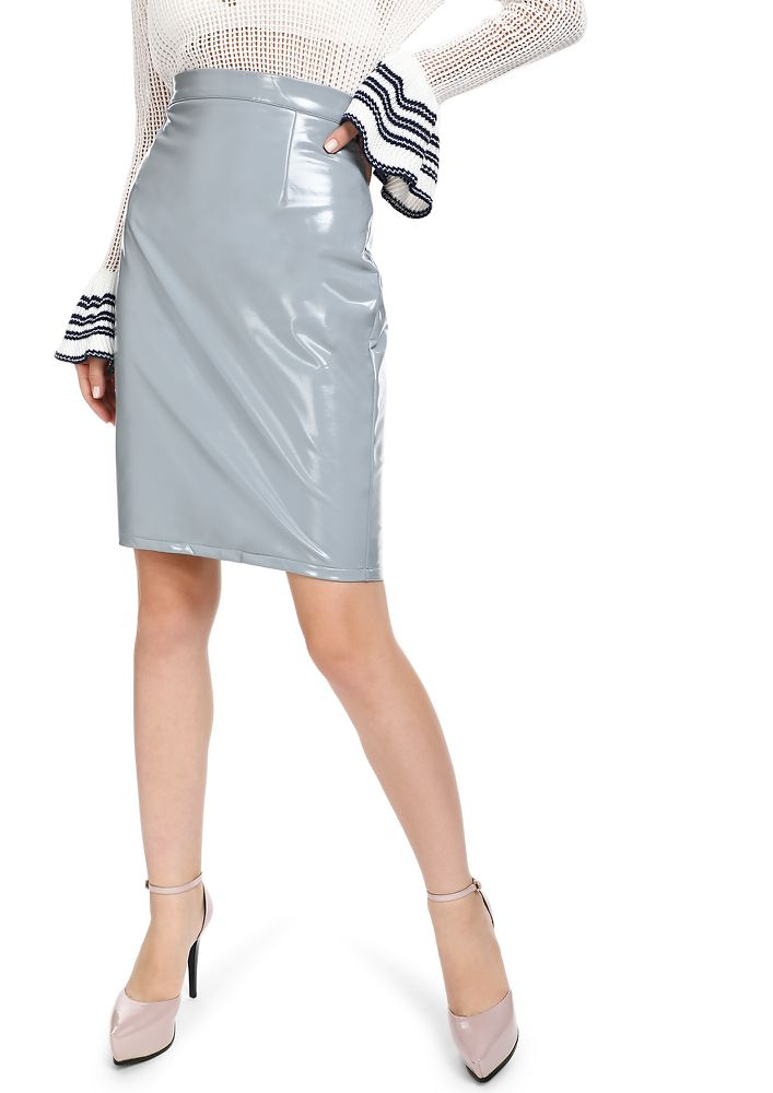 GOTTA PATENT MY LIES GREY MIDI SKIRT