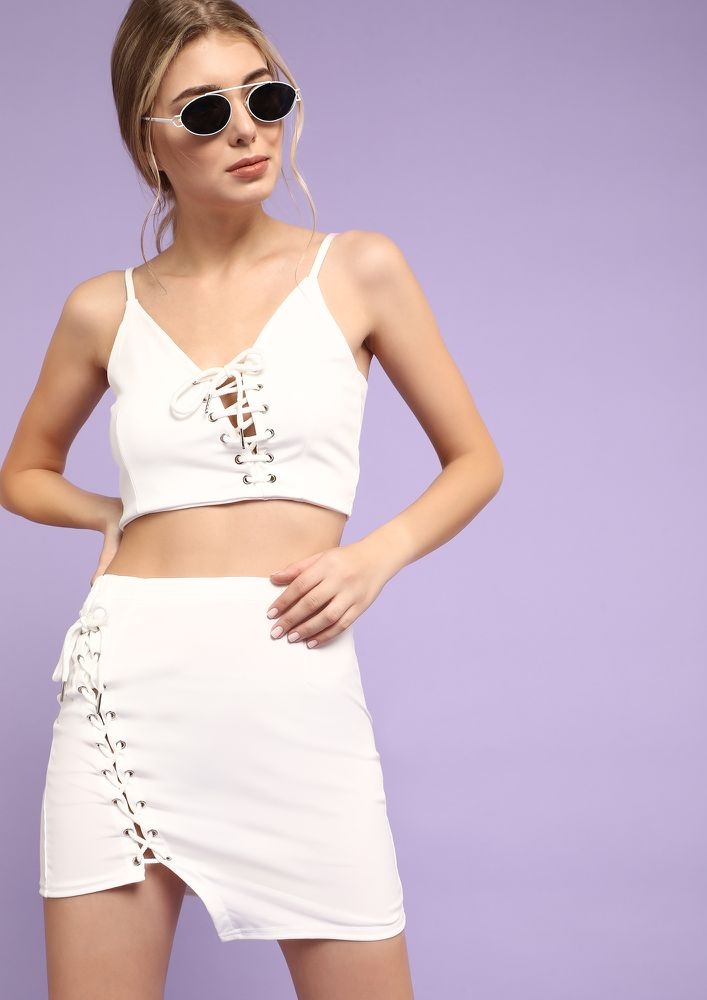 TIE DOWN THE FEELINGS WHITE CO-ORD SET