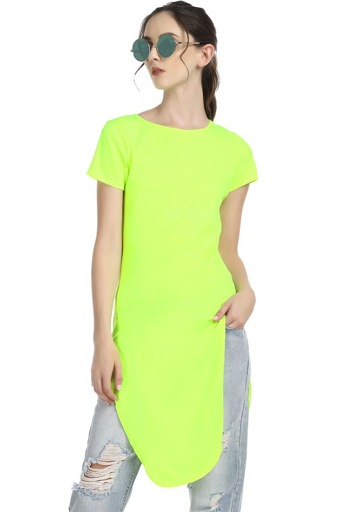 Buy HELLO BESTFRIEND LIME GREEN TUNIC TOP for Women Online